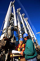 Workers at oil retrieving station. Valdez. Alaska. USA