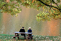 Seniors on a park bench enjoy fall colors reflected in the water, Ontario, Canada  Early autumn, Maple tree overhead will shed all leaves in a week or...