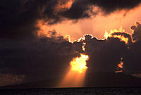 Dramatic sun rays over the ocean