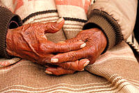 Old woman's hands. Mexico