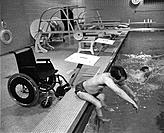 Handicapped man at the swimming pool