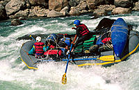 Rafting in the Sun Kosi River. Himalayas. Nepal