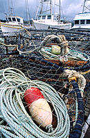 Crab pots and fishing boats. Port Orford. Oregon. USA
