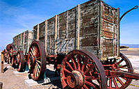 Giant twenty mule team wagons. Harmony Borax Works. Death Valley National Park. California. USA