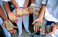 Hands of pelota players. San Sebastián. Spain
