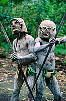 Asaro men. Papua New Guinea