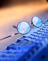Eyeglasses and computer keyboard