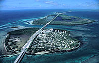 Aerial view of US Route 1 looking west: Ohio Key and Bahia Honda Key & State Park. Florida Keys, Florida. USA