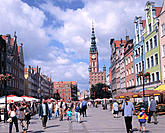 Long market and tower of the Town Hall in background. Gdansk. Poland