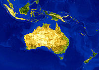 AVHRR natural colour satellite image of Australia, Indonesia and New Zealand with shaded topographic relief