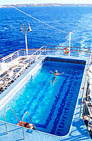 Swiming pool on cruise ship, Mediterranean Sea