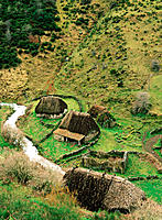 Teitos (typical dwellings). Braña de la Pornacal. Somiedo. Asturias. Spain