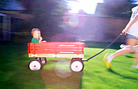 Toddler in wagon