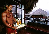 Waiter. Beachcomber Tahiti Hotel. French Polynesia