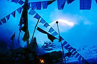 Sacred bunting in front of the Everest. Khumbu Valley. Himalayas. Nepal