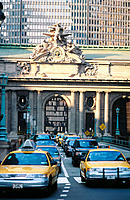 Taxis in the street in front of Grand Central Station. New York City. USA