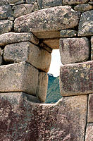 Ruins viewed through a window. Machu Picchu. Peru