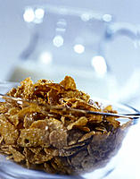 Glass bowl, Cornflakes, Breakfast