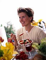 Woman, happy, Plate, Tomatoes
