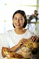 Woman, Bread basket, Roll