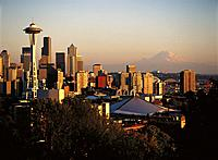 Downtown Seattle with Mt. Ranier in background. Washington. USA