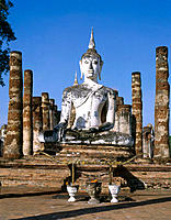 Buddah statue at Buddhist sanctuary, 13th century. Sukhothai. Thailand