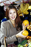 Market, Woman, Fruit stall