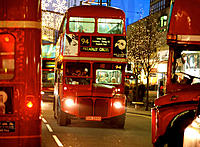 Buses in Oxford Street at Christmas. London. England