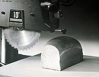 Table Saw Cutting Loaf of Bread, B&W