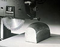 Table Saw Cutting Loaf of Bread, B&W