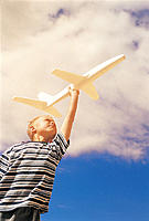 Boy Playing with Toy Airplane, Underview