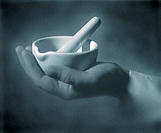 Hand Holding Mortar and Pestle