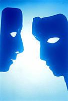 Pair of Drama Masks Communicating