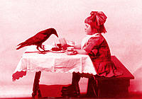 Girl having tea with crow