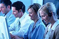 Callcenter Call-Center Geschäftsmann GeschäftsfrauKopfhörer Headset