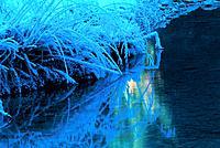 Winter Fluß Ufer Flußufer Rauhreif