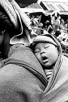Pa-O child asleep on mothers back. Burma
