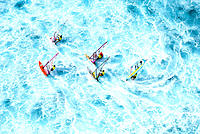 Hawaii, Maui, Hookipa, group windsurfing in whitewash ocean, aerial shot A10C