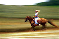Side view of blonde woman riding horse, blurred action D1278