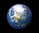 Earth. Satellite image of the Earth, centred on North America. North is at top. Water is blue, vegetation is green, arid areas are brown and ice and c...