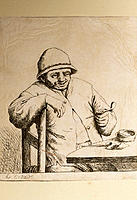 Pipe smoker. Historical etching of a man holding a pipe used for smoking tobacco. Tobacco contains carcinogens and the addictive drug nicotine. Tobacc...