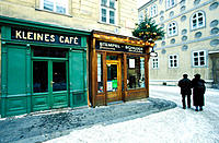 Kleines Café (Little Café) facade in winter. Vienna. Austria