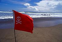 Danger flag against ocean. Australia
