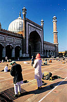 Jama Majid mosque, largest mosque in India. Old Delhi. India