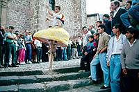 ´Danza de los Zancos´, typical dance during local festival on July 22nd. Anguiano. La Rioja. Spain