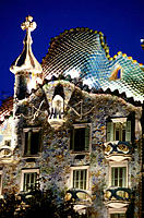Detail of facade of Batllo House (1904-1906), by Gaudi. Barcelona. Spain