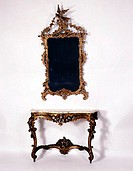 Chinese Chippendale Style Pier Mirror & Louis XV Style Giltwood Console Antiques