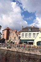 Buildings on the waterfront, Dijver Canal, Brugge, Belgium