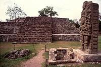Sculpture in a park, Copan Mayan, Honduras