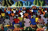 Market Scene R. Mervilus (Haitian) Oil on canvasPrivate Collection